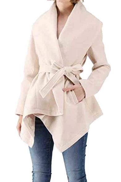 New Arrival Long Sleeve Lapel Collar Plain Asymmetrical Tie Waist Woolen Coat