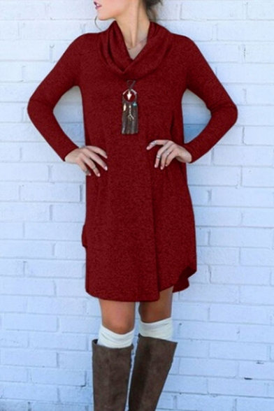 New Arrival Long Sleeve Plain Cowl Neck Mini Shift Knit Dress