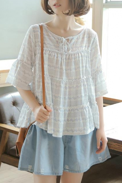 New Arrival Tied Round Neck Half-Sleeve Loose Fitted White Blouse