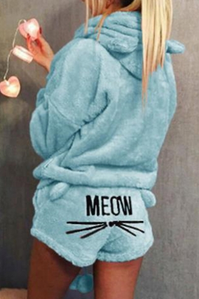 New Trendy Lovely Cartoon Cat Letter MEOW Printed Back Ear Hoodie Shorts Pajama Set for Women