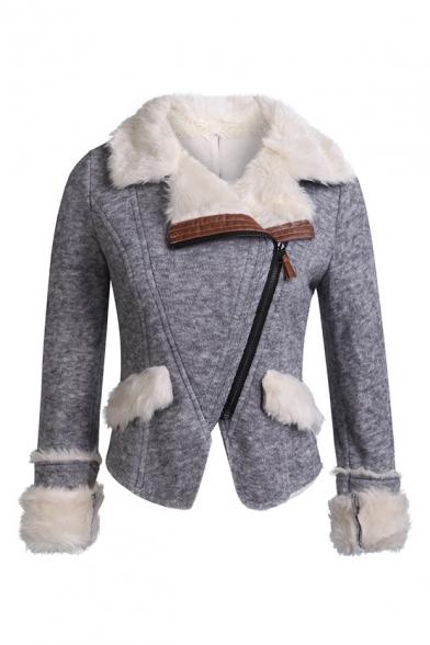 Unique Long Sleeve Lapel Collar Zip Embellished Plain Fleece Biker Jacket