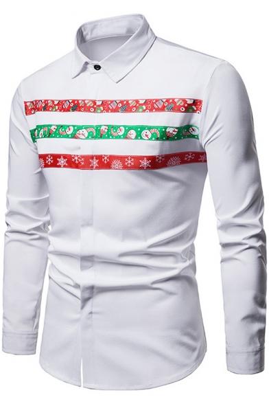 Winter Fashion Christmas Snowflake Snowman Print Lapel Long Sleeve Slim Shirt
