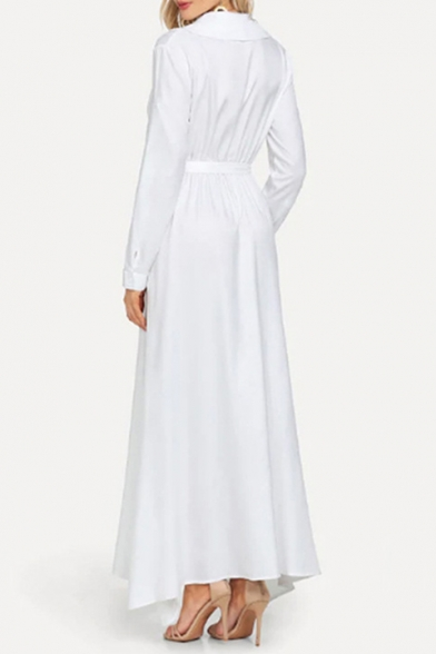 Boho Style Long Sleeve Lapel Collar Plain Split Front Tie Waist Cotton White Maxi Dress