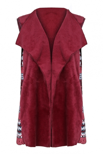 Chic Floral Patchwork Lapel Collar Open Front Sleeveless Warm Fluffy Fleece Vest Coat