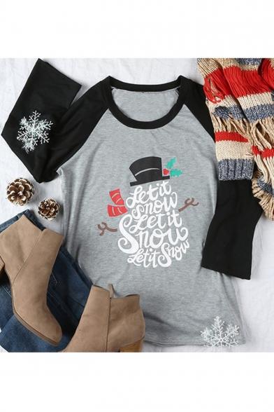 Chic Gray Christmas Theme Letter Print Contrast 3/4 Sleeve Women's T-Shirt