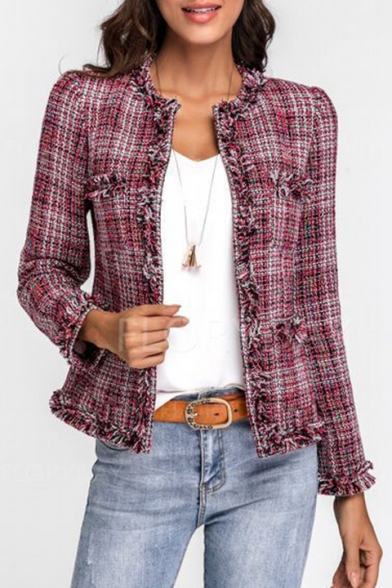 Classic Long Sleeve Plaid Printed Red Coat