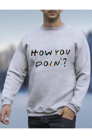Colorful Polka Dot Letter HOW YOU DOIN Printed Long Sleeve Round Neck Gray Sweatshirt for Guys