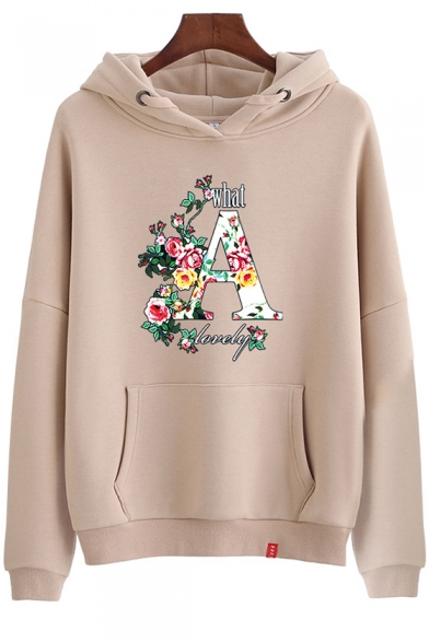 Letter A Rose Floral Printed Long Sleeve Cozy Hoodie