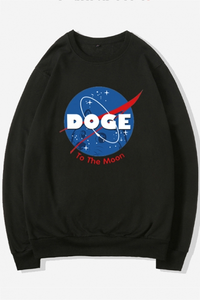 Loose Long Sleeve Round Neck Letter NASA Printed Fashion Sweatshirt for Juniors