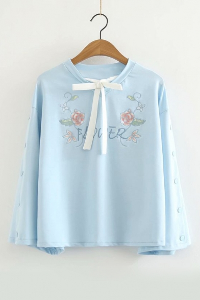 Lovely Bow-Tied Round Neck Long Sleeve Floral Pattern Loose Fitted Blue Sweatshirt