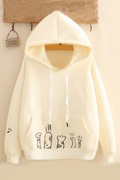 Lovely Cartoon Cat Claw Printed Pocket Long Sleeve Fitted Hoodie