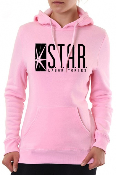Popular Letter STAR Pattern Long Sleeve Women's Regular Fitted Hoodie