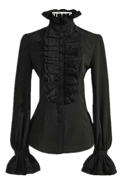 Punk Style Long Sleeve High Neck Plain Ruffle Detail Flare Cuff Button Down Shirt