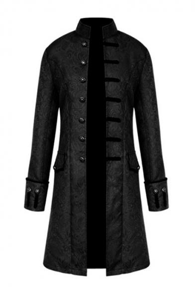 Punk Style Single Breasted Stand Collar Plain Longline Coat with Flap Pockets