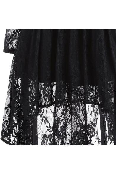 Retro Black V-Neck Cold Shoulder Long Sleeve Chic Lace-Panneled A-Line Asymmetrical Dress