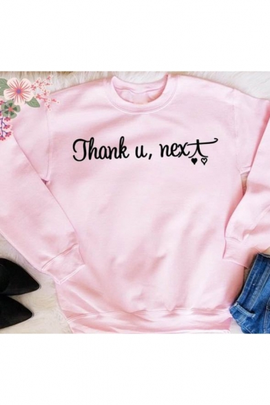 Round Neck Long Sleeve Letter THANK Y NEXT Printed Casual Cozy Pink Sweatshirt