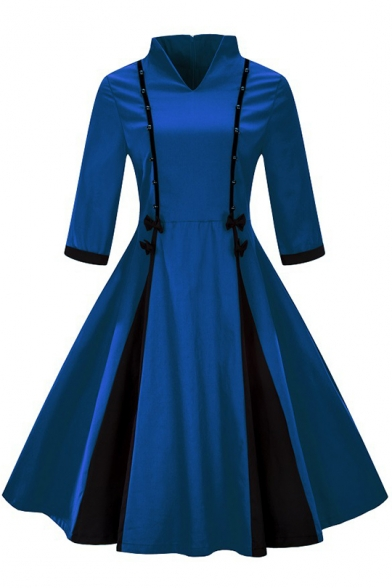 Stand Collar Three-Quarter Sleeve Beaded Embellished Two-Tone Colorblock Midi Fit and Flared Dress