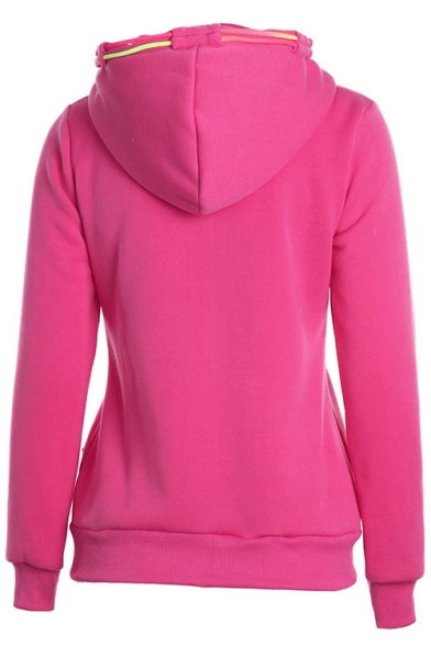 Trendy Yellow Zip Closure Colorful Drawstring Front Pockets Long Sleeve Hoodie