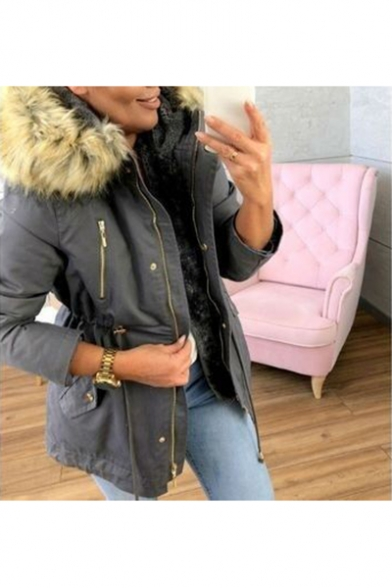 Winter's New Trendy Long Sleeve Elastic Waist Hooded Zip Up Packet Cotton Padded Coat