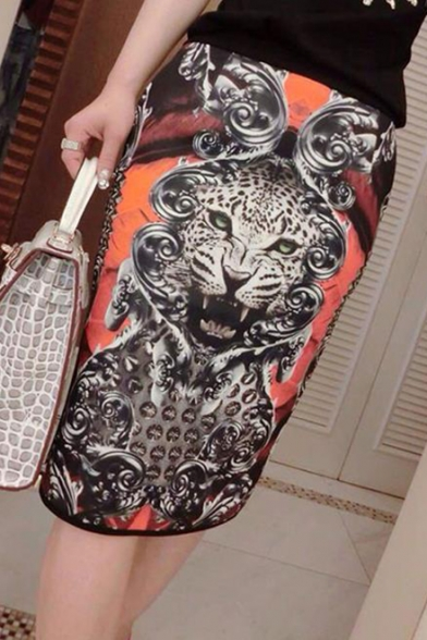 Image of 3D Animal Printed Elastic Waist Midi Pencil Black Skirt