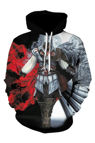 Chic Black Movie Portrait Long Sleeves Pullover Hoodie with Pocket