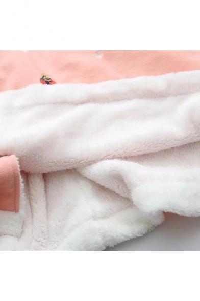 Cute Cartoon Christmas Snowflake Deer Printed Horn Hooded Pom Button Down Cape Coat