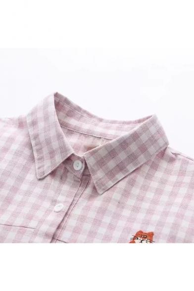 Cute Cartoon Embroidered Plaid Pattern Long Sleeve Lapel Collar Button Down Shirt