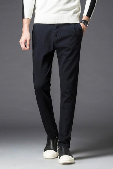 Fancy Black Plain Slim Leg Side Pockets Tailored Pants for Men