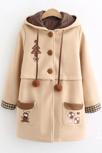 Khaki Long Sleeve Bunny Embroidered Plaid Single Breasted Hooded Woolen Tunics Coat