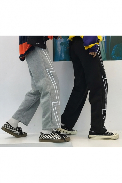 Leisure Black Lightning Print Wide Leg Loose Fit Jogger Pants
