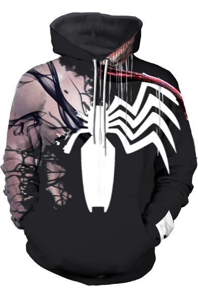 New Stylish 3D Spider Printed Long Sleeve Black Hoodie, LC497806