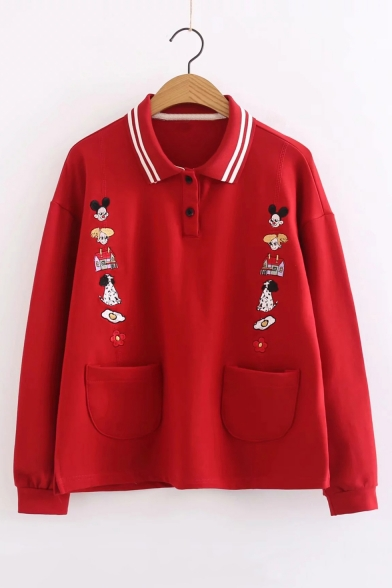 Novelty Long Sleeve Lapel Collar Button Front Cartoon Dog Embroidered Loose Red Sweatshirt with Pockets