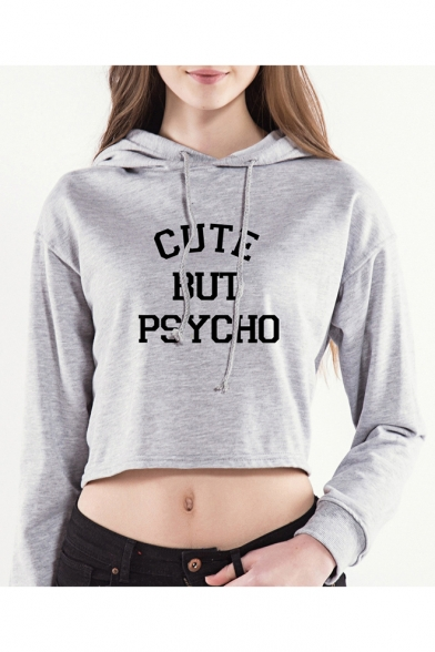 Sexy Long Sleeve Letter CUTE BUT PSYCHO Printed Drawstring Cropped Hoodie
