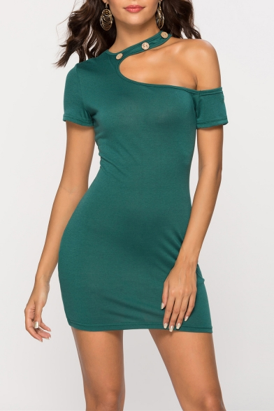 Sexy One Shoulder Short Sleeve Halterneck Button-Embellished Simple Solid Mini Bodycon Green Dress