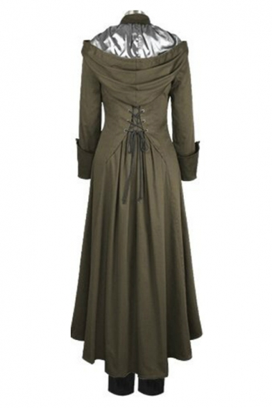 Unique Medieval Costume Long Sleeve Hooded Lace-Up Back Button Down Front Army Green Overcoat