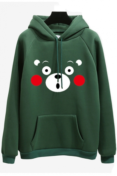 Cute Cartoon Bear Printed Long Sleeve Loose Unisex Hoodie