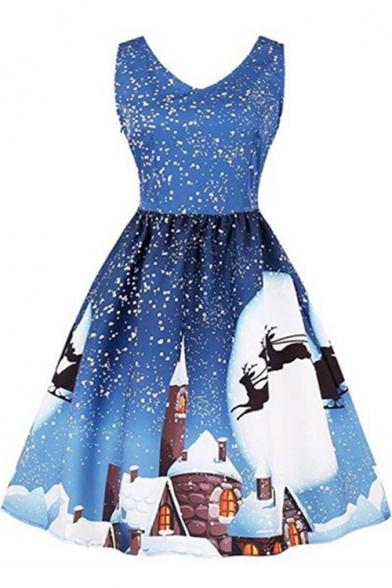 Fancy Sleeveless V Neck Christmas Tree Printed Midi A-Line Dress