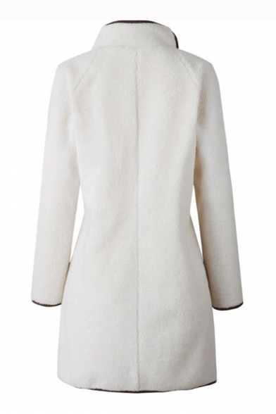 Fashion Long Sleeve Stand Collar Contrast Trim Zip Embellished Tunics Coat