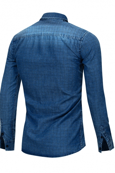Men's Lapel Collar Long Sleeve Button Down Classic Plain Blue Cotton Slim Chambray Shirt