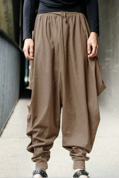 Retro Casual Plain Elastic Drawstring Harem Pants, Black;khaki;army green;navy, LC494445