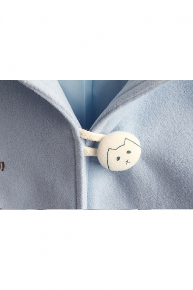 Single Breasted Carrot Bunny Embroidered Long Sleeve Blue Woolen Hooded Coat