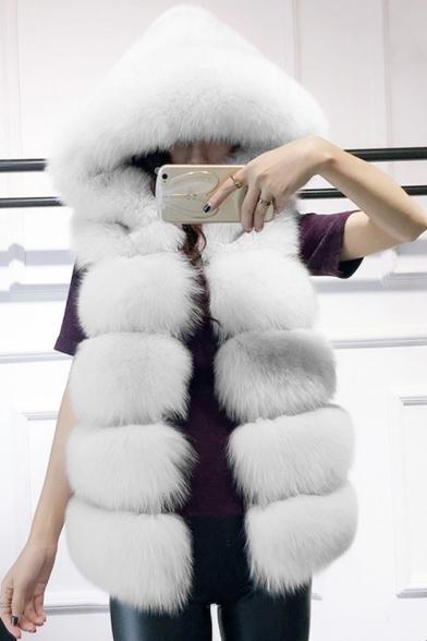 Winter's Trendy Warm Faux Fox Mink Hair Hooded Sleeveless Solid Vest Coat
