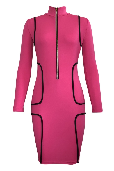 Women's Fashion Black Half-Zip Placket Slim Fit High Neck Long Sleeve Bodycon Dress