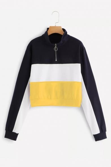 Women's Fashion Half-Zip Stand Collar Long Sleeve Colorblock Cropped Sweatshirt