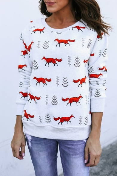 All Over Fox Animal Printed Round Neck Long Sleeve White Sweatshirt