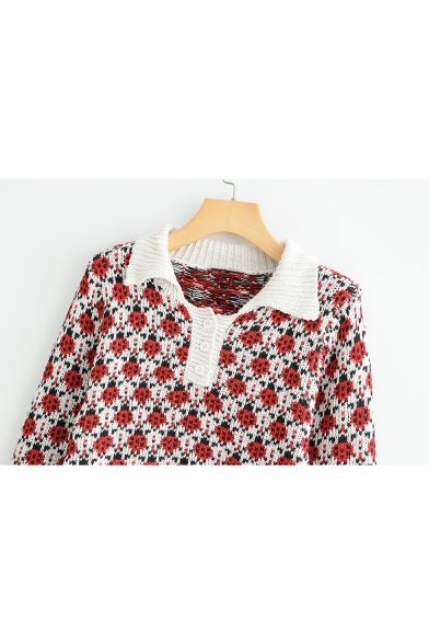 All Over Ladybug Jacquard Long Sleeve Lapel Collar Cropped Sweater