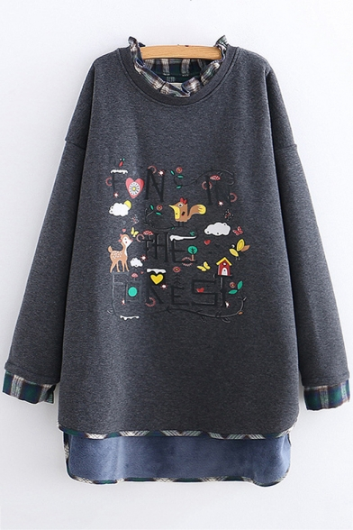 Cartoon Embroidered Fashion Plaid Patched Long Sleeve Round Neck High Low Hem Sweatshirt