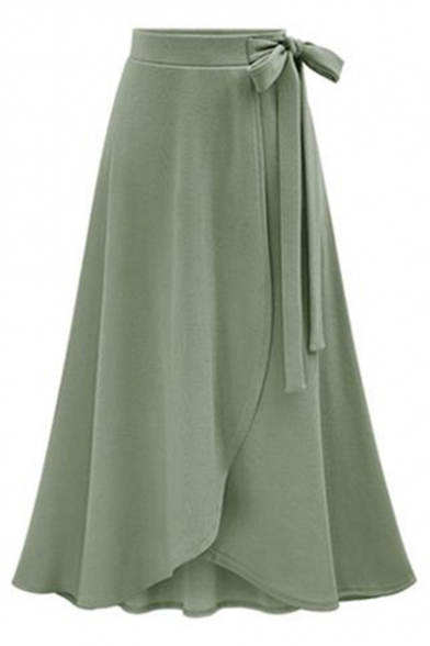 Chic Plain Tie Waist Wrapped Asymmetric Hem Midi Skirt