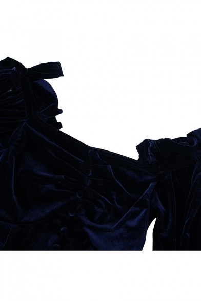 Dark Blue Velvet Plain One Shoulder Long Sleeve Bow Button Embellished Blouse