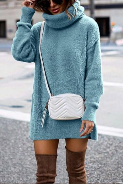 Fashion Long Sleeve High Neck Plain Tunics Sweater